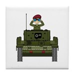 Cute Army Soldier in Tank Tile Coaster