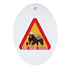 Honey Badger Crossing Sign Ornament (Oval)