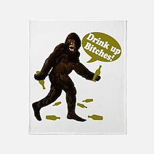 Drink Up Bitches Bigfoot Throw Blanket
