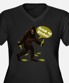 Drink Up Bitches Bigfoot Women's Plus Size V-Neck