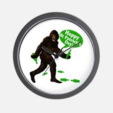 Happy St Patricks Day Bigfoot Wall Clock