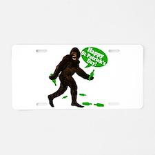 Happy St Patricks Day Bigfoot Aluminum License Pla