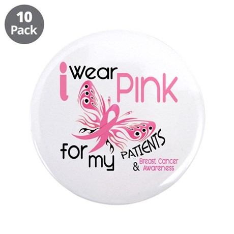 """I Wear Pink 45 Breast Cancer 3.5"""" Button (10 pack)"""
