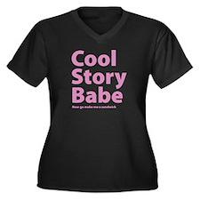Cool Story Babe Women's Plus Size V-Neck Dark T-Sh
