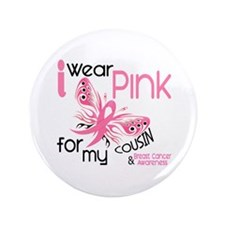 """I Wear Pink 45 Breast Cancer 3.5"""" Button"""