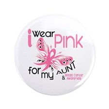 "I Wear Pink 45 Breast Cancer 3.5"" Button"