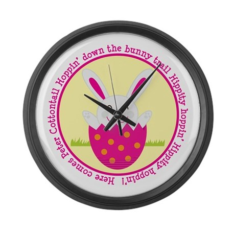 Peter Cottontail Girl Easter Large Wall Clock