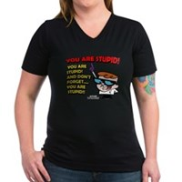 Dexter You Are Stupid! Women's V-Neck Dark T-Shirt