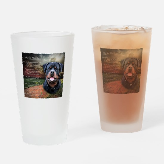 """""""Why God Made Dogs"""" Rottweiler Drinking Glass"""