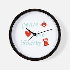 Peace, Love and Liberty Wall Clock
