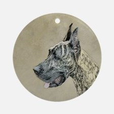 Great Dane (Brindle) Round Ornament