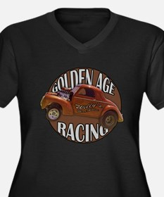 1941 Willys Gasser Women's Plus Size V-Neck Dark T