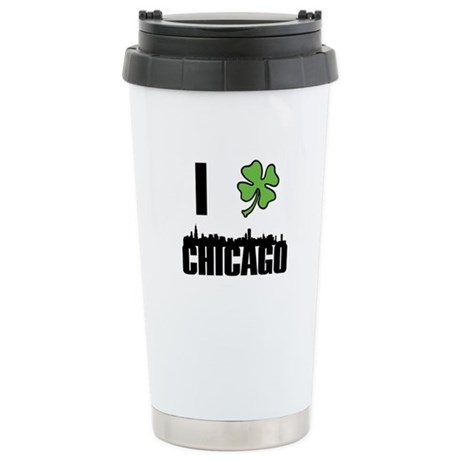 I Shamrock Chicago Stainless Steel Travel Mug