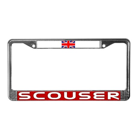 Red Scouser & UK Flg License Plate Frame