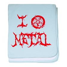 I Love Metal (red distortion) baby blanket