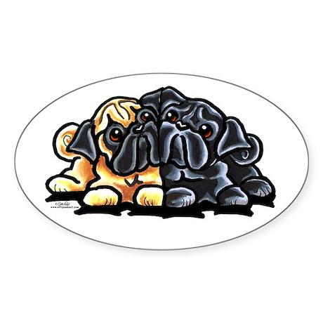 Love Pugs Sticker (Oval)