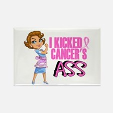 Kicked Cancer's Ass Breast Cancer Rectangle Magnet