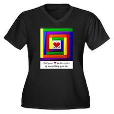 Quilt Square Women's Plus Size V-Neck Dark T-Shirt