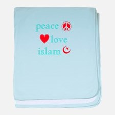 Peace, Love and Islam baby blanket