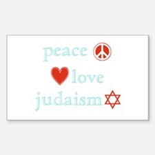 Peace, Love and Judaism Decal