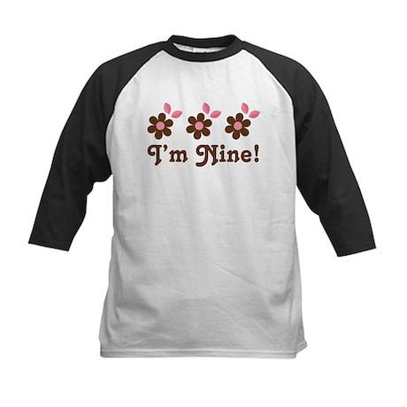 9th Birthday Flowers Kids Baseball Jersey