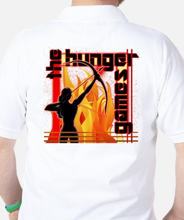 Katniss on Fire Hunger Games Gear Golf Shirt