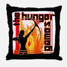 Katniss on Fire Hunger Games Gear Throw Pillow