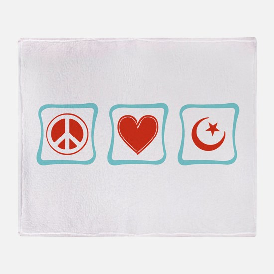 Peace, Love and Islam Throw Blanket