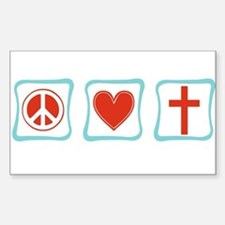 Peace, Love and Christianity Decal