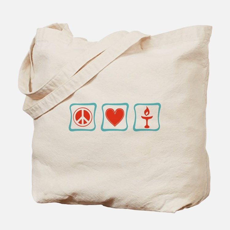 Peace, Love and Unitarianism Tote Bag