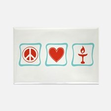 Peace, Love and Unitarianism Rectangle Magnet