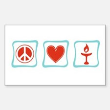 Peace, Love and Unitarianism Sticker (Rectangle)