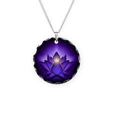 "Purple ""Third Eye"" Chakra Lotus Necklace"