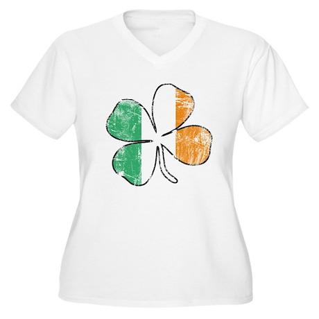 Irish Shamrock Women's Plus Size V-Neck T-Shirt