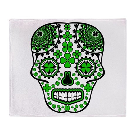 Shamrock Sugar Skull Throw Blanket