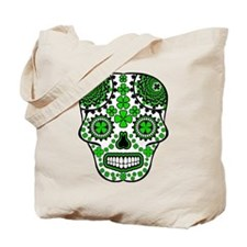 Shamrock Sugar Skull Tote Bag