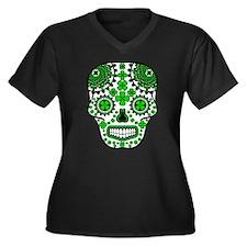 Shamrock Sugar Skull Women's Plus Size V-Neck Dark