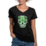 Shamrock skull st patricks Womens V-Neck T-shirts (Dark)