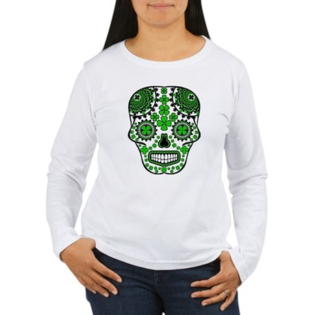 Shamrock Sugar Skull Women's Long Sleeve T-Shirt