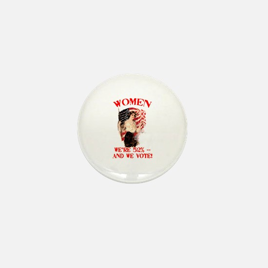 Women 52% and We Vote Mini Button (100 pack)