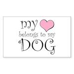 Heart Belongs to Dog Rectangle Sticker