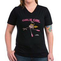 DeeDee Girlie Girl Women's V-Neck Dark T-Shirt