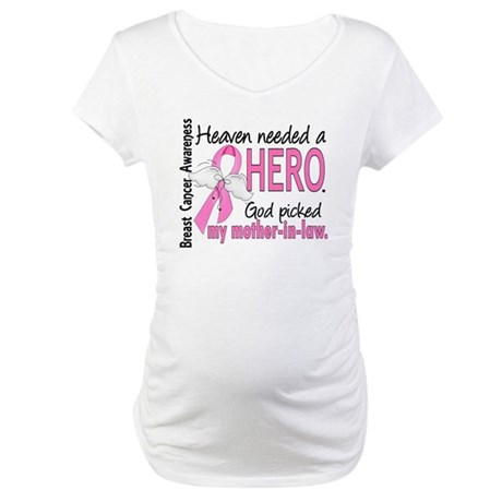 Heaven Needed a Hero Breast Cancer Maternity T-Shi