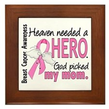 Heaven Needed a Hero Breast Cancer Framed Tile
