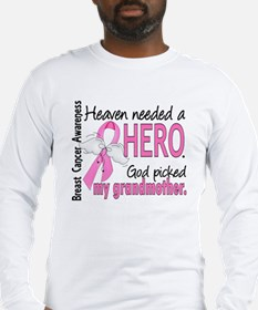 Heaven Needed a Hero Breast Cancer Long Sleeve T-S