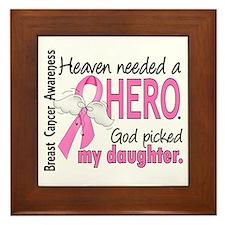 Heaven Needed a Hero Breast Cancer Framed Tile