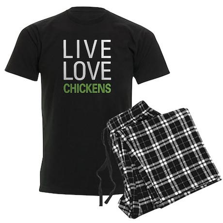 Live Love Chickens Men's Dark Pajamas