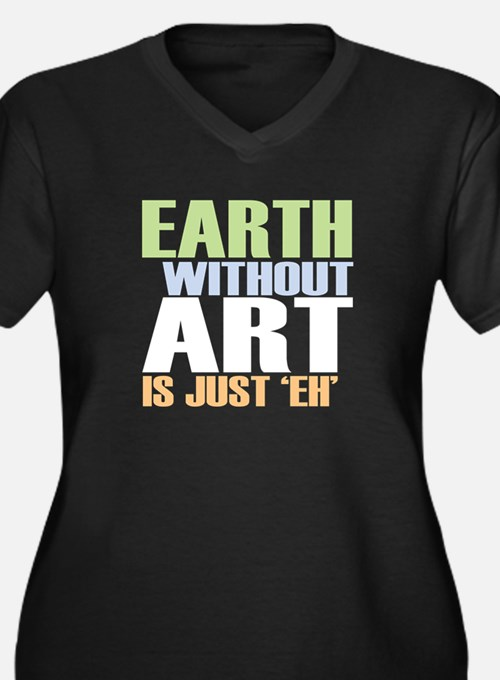 Earth Without Art Women's Plus Size V-Neck Dark T-