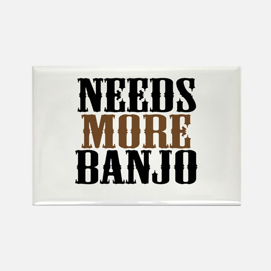 Needs More Banjo Rectangle Magnet