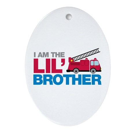 Firetruck Little Brother Ornament (Oval)